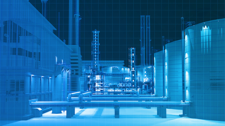 View from camera building scan in the dark in oil refinery factory building , 3D rendering for background composite.
